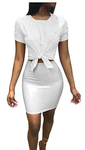 - GAGA Women 2 Piece Outfits Clubwear Beading Pearls Top with Short Bodycon PU Skirt Set White M