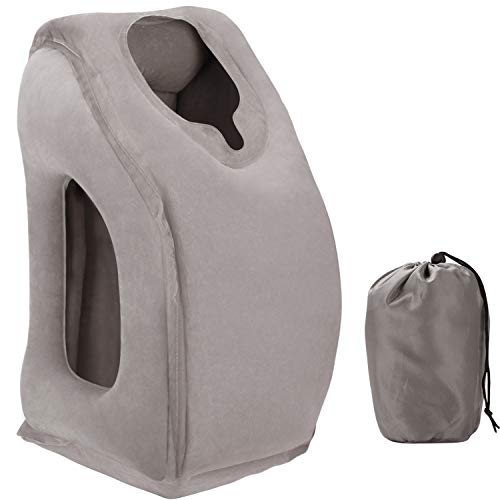 HOMDUS Inflatable Travel Pillow, Ergonomic Comfortable and Protable Flight Sleep Inflatable Pillow for Airplanes and Trains Travel, Office Napping, Camping etc. ... (Grey) (Sleep Flight)