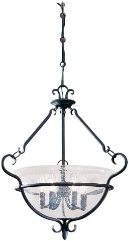 Sea Gull Lighting 6501-07 Six-Light Manor House Pendant, Clear Seeded Glass, Weathered Iron Finish