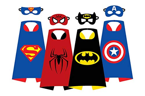 KostD Costume Super Hero Capes with Masks for Kids Cartoon Party Set of 4