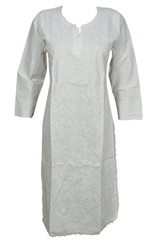 Mogul Interior Womans White Tunic Cotton Paisley Floral Hand Embroidered Caftan Dress Indian Beach Kurta (White 6),Small