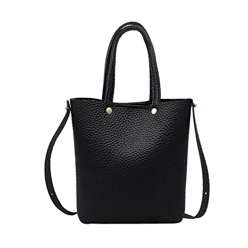 Kanpola Leather Pure Bag color Handbag Fashion Women's Black Bags Shoulder Black Corssbody With rEqwr4Ux