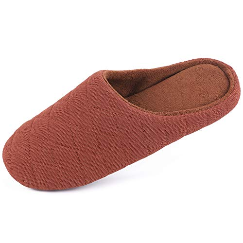 Image of Men's Comfort Quilted Cotton Memory Foam House Slippers Slip On House Shoes (Medium / 9-10 D(M) US, Coffee)