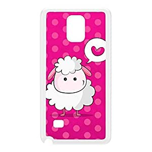 Cute Little Sheep on Pink White Hard Plastic Case for Galaxy Note 4 by UltraCases + FREE Crystal Clear Screen Protector
