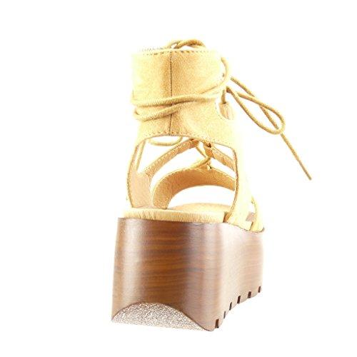 Angkorly - Zapatillas de Moda Sandalias Mules zapatillas de plataforma mujer encaje multi-correa madera Talón Plataforma 6.5 CM - Camel