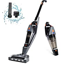 Cordless Vacuum, Hikeren Stick Vacuum Cleaner, 12Kpa Powerful Suction 2 in 1 Handheld Vacuum, Lightweight & Ultra-Quiet with Rechargeable Lithium Ion Battery for Hardwood Floor Carpet Pet Hair, Gray