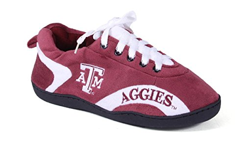 TAM05-3 - Texas A & M Aggies - Large - Happy Feet Mens and Womens All Around Slippers