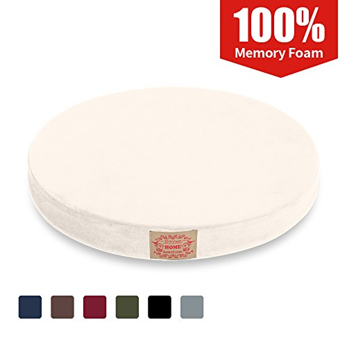 Shinnwa Polyester Supper Soft Cushion Round Memory Foam Seat Cushion Short Plush Lumbar Support Pillow Home Office Chair Pad White 16