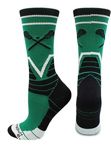 MadSportsStuff Lacrosse Victory Crew Socks (Kelly Green/Black/White, Medium)
