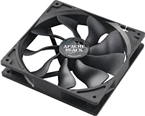 Akasa 14cm APACHE Black - Ventilador de PC (Ventilador, Carcasa del ordenador, 14 cm, Negro, 12V, 2,5 cm)