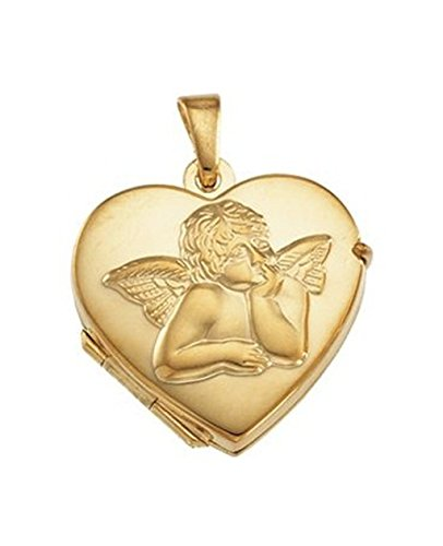 St. Rafael Cherub Heart Angel 14k Yellow Gold Locket Pendant (17.50X18.50 MM)