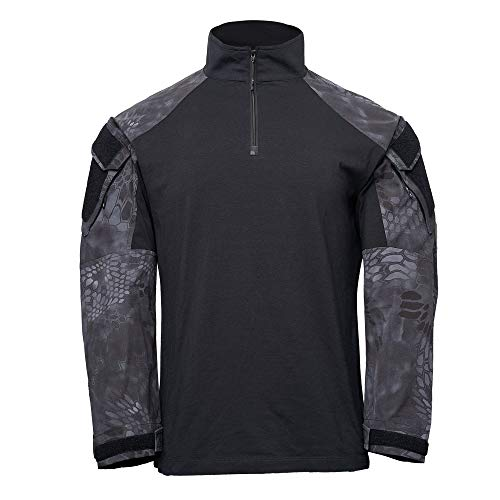 Kryptek Tactical LS Zip Long Sleeve Shirt (Tactical Collection), Black/Typhon, - Ls Shirt Tactical