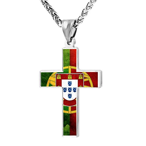 LUQeo Cross Necklace Portugal Christianism Crucifix Necklace Devoted Religious Jewelry Pendant (Silver Portuguese Jewelry)
