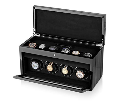 4+6 Watch Winder Box for 4 Automatic Watches with 6 Storage Slots, LED Backlight and LCD Display (Black Shadow)