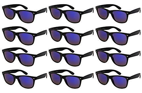 Edge I-Wear 12-Pack Vintage Men Women Plastic Horned Rim Sunglasses Mirrored Lens Spring Hinges Wood Pattern -