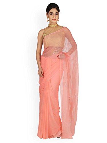 Indian Embellished Jaipur Geroo Export Handicrfats Pink Saree Chiffon qTrqwa7