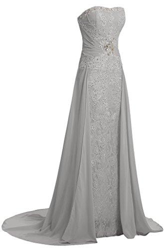amp;Chiffon Linie Spitze Abendkleid Damen Partykleid Festkelid Taegerlos A Ivydressing Silber wqU6ExIn