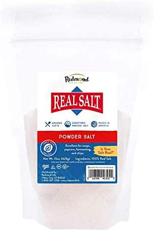 Redmond Real Salt - Ancient Unrefined Mineral Powdered Sea Salt Pouch for Cooking, Baking, Canning, Baths, Neti Pots, and Other Medical Uses