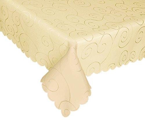 "EcoSol Designs Microfiber Damask Swirls Tablecloth, Wrinkle-Free & Stain Resistant, 60""x84"" Rectangular/Oblong, Ecru"