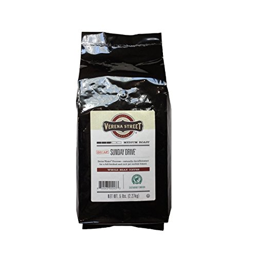 Verena Street 5 Pound Whole Bean, Swiss Water Process Decaf Beans, Sunday Drive Decaffeinated, Medium Roast Rainforest Alliance Certified Arabica Coffee