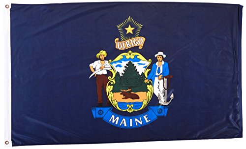Maine State Flag (Online Stores Maine Superknit Polyester Flag, 3 by)
