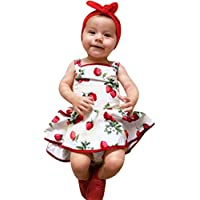 4af28cee7 Minisoya 1-3 Years Old Cute Baby Girls Infant Kids Strawberry Printed  Romper Clothes Summer