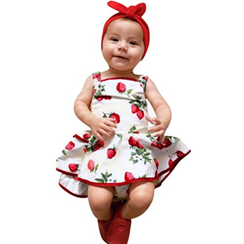Minisoya 1-3 Years Old Cute Baby Girls Infant Kids Strawberry Printed Romper Clothes Summer Princess Dress Outfit (White, 3T) -