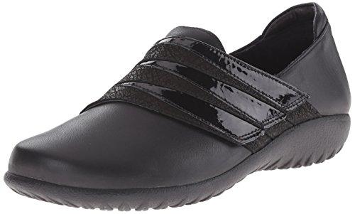 Naot Women's Rapoka Flat, Black Raven Leather/Black Crackle Leather/Black Crinkle Patent Leather/Jet Black Leather, 38 EU/6.5-7 M US