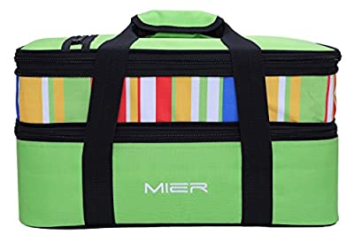 """MIER Insulated Double Casserole Carrier Thermal Lunch Tote for Potluck Parties, Picnic, Beach - Fits 9""""x13"""" Casserole Dish, Expandable"""