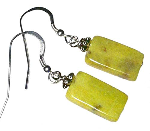 (Noble serpentine earrings; Lime green gemstone earrings; Sterling silver; Gift from Seattle; Gift from Washington State;)