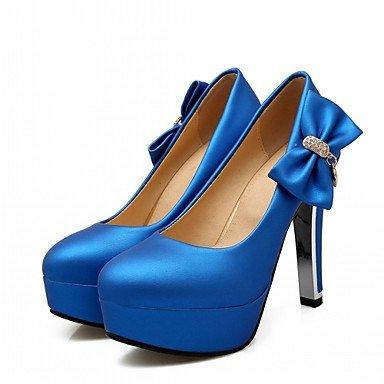 Le donne eleganti sandali SEXY DONNA PRIMAVERA tacchi cadono Comfort similpelle Office & Carriera Party & abito da sera Chunky Heel Bowknot Nero Blu Nastro Rosso , blu , us5 / EU37 / UK4 big kids