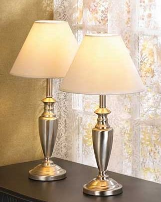 SKB Family Trio Lamp Oil Contemporary Set of 3 Metal Base with Fabric Shade Silver Home Lamps New Gorgeous Floor Lamp and 2 Table Lamps