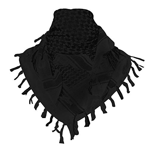 - TACVASEN Men's Cotton Military Shemagh Head Neck Tactical Scarf Arab Wrap Black