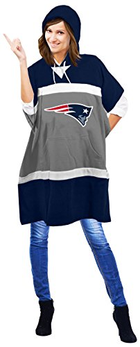NFL New England Patriots Hoodie Poncho, 70.5 x 32-Inch, Blue