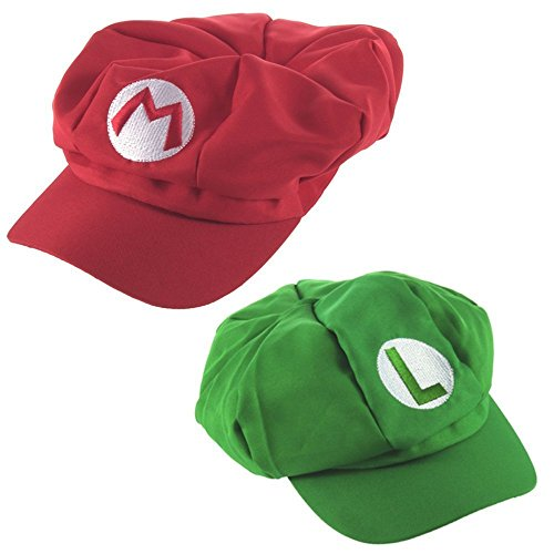 Super Mario Kart Hats: Mario, Luigi Brothers Caps for Halloween Costumes: Unisex Cosplay (2 Pack) (Mario And Luigi Costumes Kids)