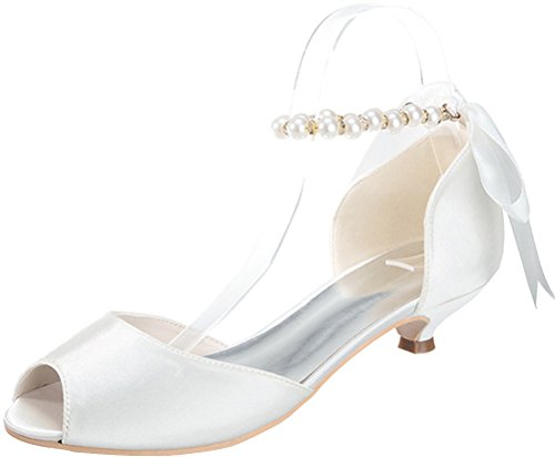 Ivory Wedding 11 Bridesmaid Strap 5 Eu Comfort Heel 0700 37 Satin Dress Prom Fashion Peep Sandals Ankle Party Kitten Work Smart Toe Bride Pearl Ladies 14nwgPwxqd