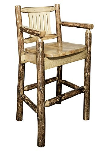 Montana Woodworks MWGCBSWCAS Glacier Country Collection Captain's Barstool