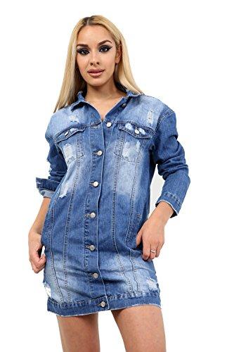 jean Blouson Longues 7 Femme en Road Veste Manches Bleu Fashion Sr6WxwZr0X