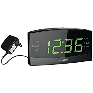 "Sylvania SCR1989BT 1.8"" Jumbo Digit Clock with AM/FM Radio, Bluetooth and Dual Alarm"