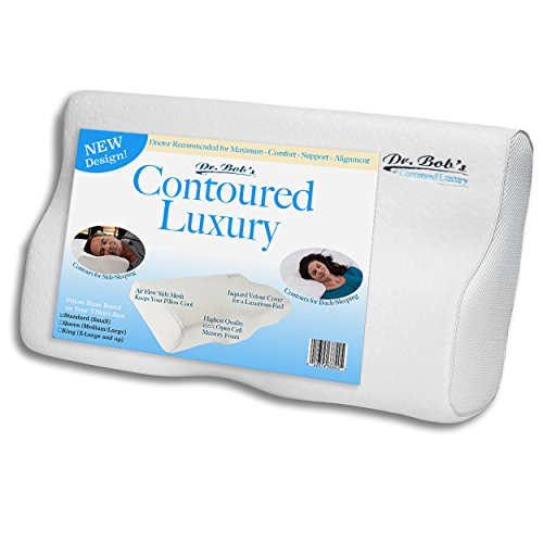 Contoured Luxury - Neck and Cervical Pillow by Dr. Bob's - Memory Foam Contours for Back-Sleeping...