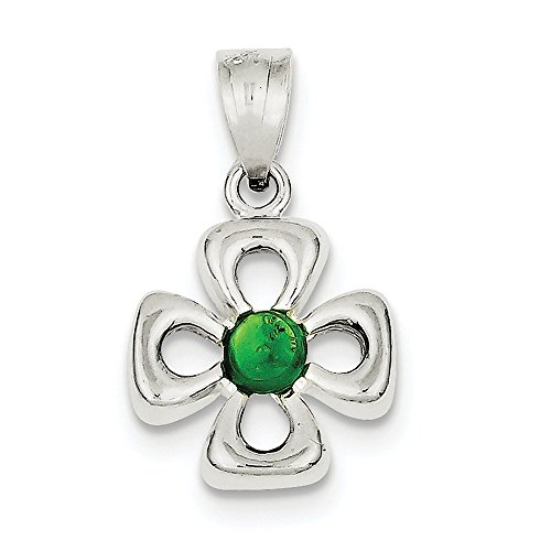 Diamond2Deal 925 Sterling Silver Four Leaf Clover with Green Synthetic Stone Pendant by Diamond2Deal