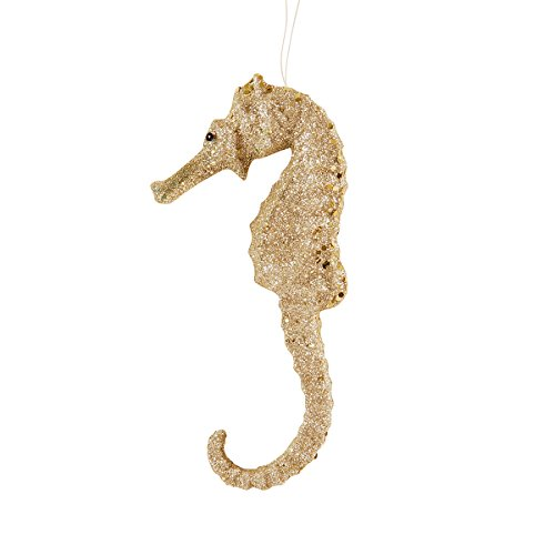 - CFF Champagne Glitter Seahorse Coastal Christmas Tropical Sea Life Beach House Holiday Xmas Hanging Ornament Champagne