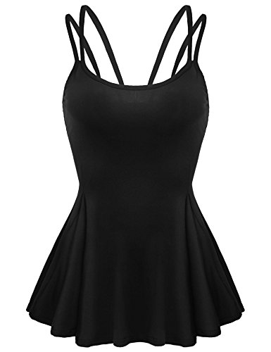 Zeagoo Women Basic Slim Spaghetti Strap Peplum Top Flare Shirts Black XL