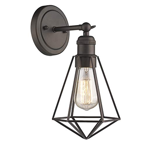 Zeyu 1-Light Vanity Light, Industrial Single Wall Light Sconce for Hallway Kitchen, Oil Rubbed Bronze Finish with Metal Wire Cage, ZY04-1W ORB