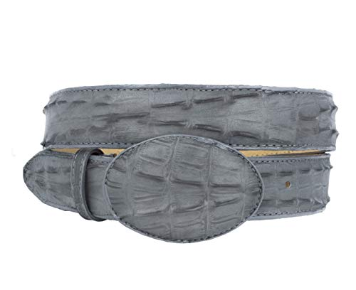 Cowboy Professional - Men's Gray Crocodile Tail Leather Western Belt Round Buckle 32