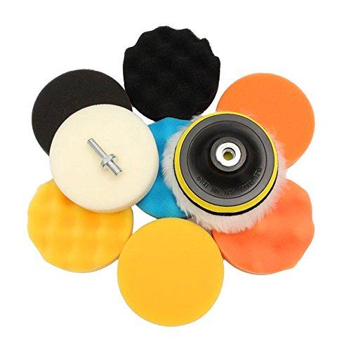 11Pcs de Esponja de Pulido encerado kit de cojín para el amortiguador de pulido del coche con adaptador de taladro(5inch)