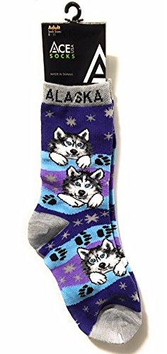 Alaska Novelty Socks Husky Pups and Pawprints  Blue/Purple Fits Adult Sock Sizes 8 - 11 (Print Husky Paw)