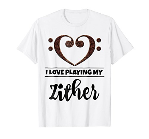 Double Bass Clef Heart I Love Playing My Zither T-Shirt