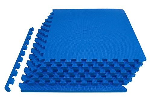"ProSource Extra Thick Puzzle Exercise Mat 3/4"", EVA Foam Interlocking Tiles for Protective, Cushioned Workout Flooring for Home and Gym (Blue Polished Flooring)"