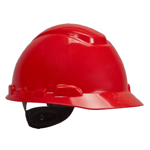 3M Hard Hat, Red 4-Point Ratchet Suspension H-705R (Pack of 1)